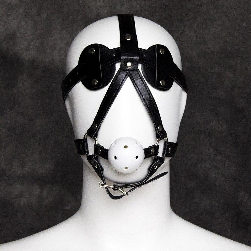 Conjunto de mordaza, gafas de atractivo, máscara de juguetes sexuales, disfraz de bondage, arnés, accesorios, Cosplay Sexy, piel, Unisex, Bdsm, capucha fetichista