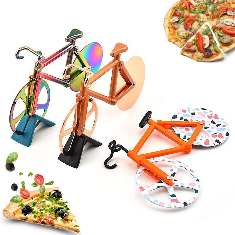 Pizza Cutter Bicycle  Wheel Shape Stainless Steel Plastic Chopper Slicer Kitchen Gadget Knives