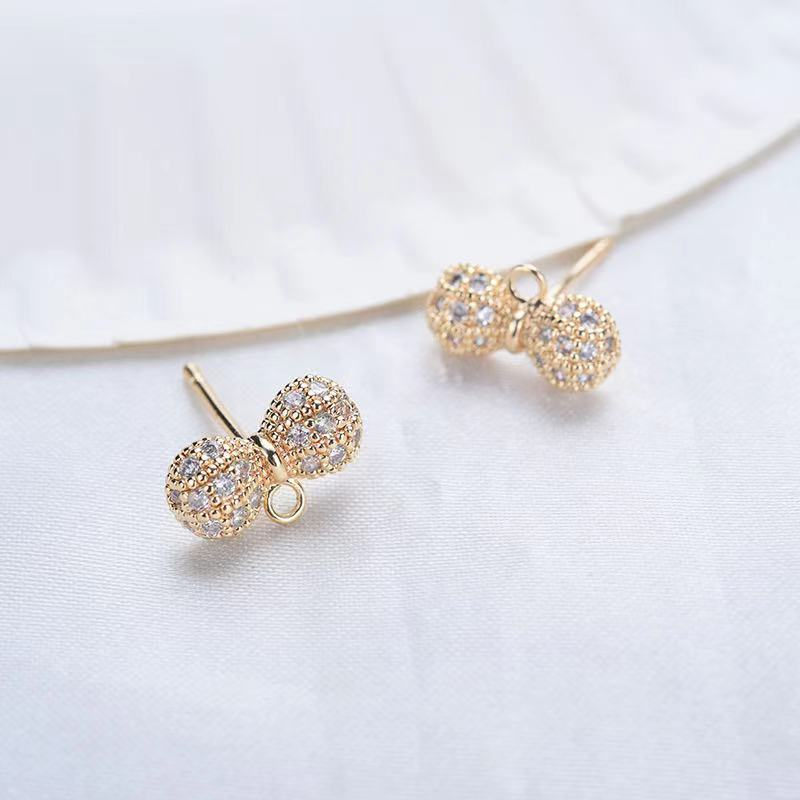 4PCS 12*6mm 24K Gold Color Plated Brass Zircon Bow Earrings Hook High Quality Diy Fashion Jewelry Findings Accessories недорого