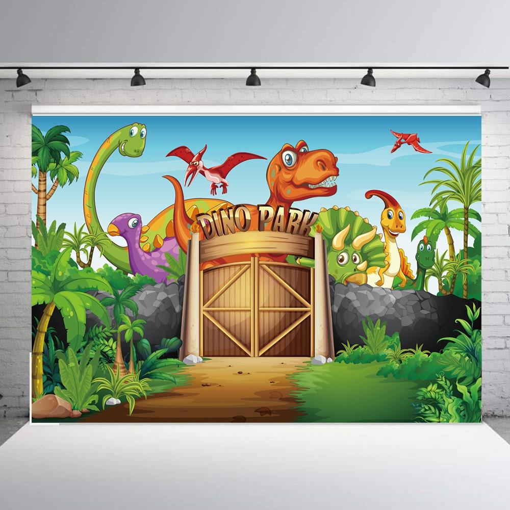 Telón de fondo de fotografía de cumpleaños de dinosaurio de BEIPOTO para niños suministros de fiesta decoración de banner de dinosaurio