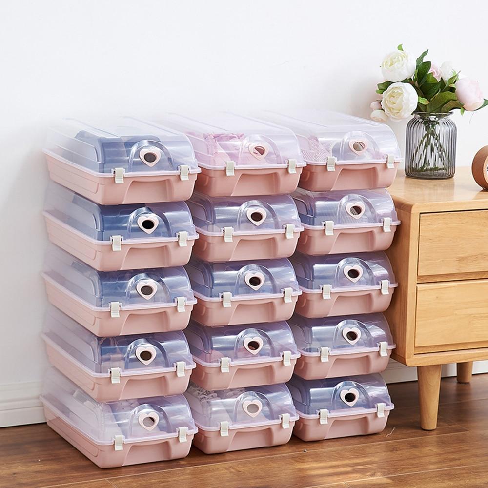 Caja de zapatos de almacenamiento organizadora, caja de plástico apilable transparente, organizador para el hogar, caja de almacenamiento a prueba de polvo, Shoebox