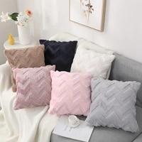 ins rabbit fur wave pattern pillowcase throw pillow cases cushion coversfor sofa seat chair car living room home decor 45x45cm