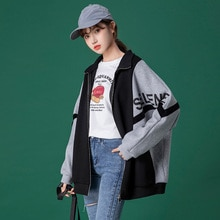 2021 Autumn Winter Fashion Casual Womens New Jacket Color Contrast Splicing Zipper Letter Printing L