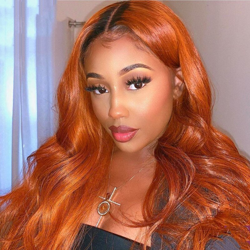 Body wave Ginger Orange 13x5 Lace Front Brazilian Virgin Hair Wig Human Hair Wigs  Pre Plucked With Baby Hair 180 Density