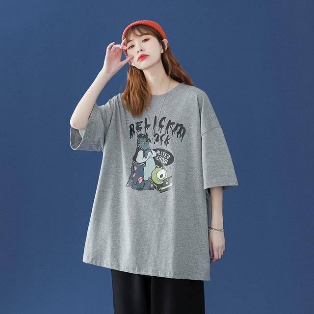 oversized T-shirt Women Casual 100% Cotton Short Sleeve Unisex O-Neck Tshirt Fashion Fun Print Harajuku Plus Size punk clothes 6