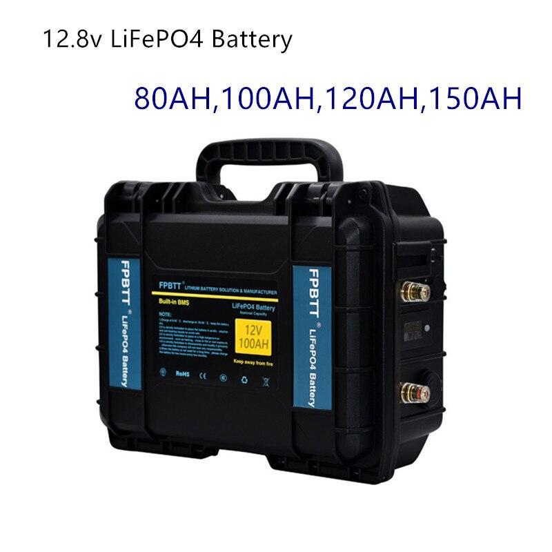 بطارية LiFePO4 12 فولت ، 80 أمبير ، 100 أمبير ، 120 أمبير ، 150 أمبير ، ليثيوم ، 12.8 فولت ، حديد فوسفات ، مع شاحن 10 أمبير