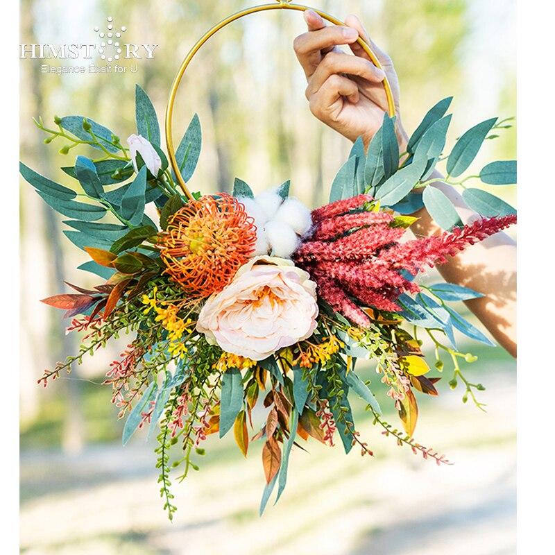 HIMSTORY Mori-إكليل دائري من الحرير ، باقات زهور ، سلة زهور ، باقة فستان زفاف ، ريترو