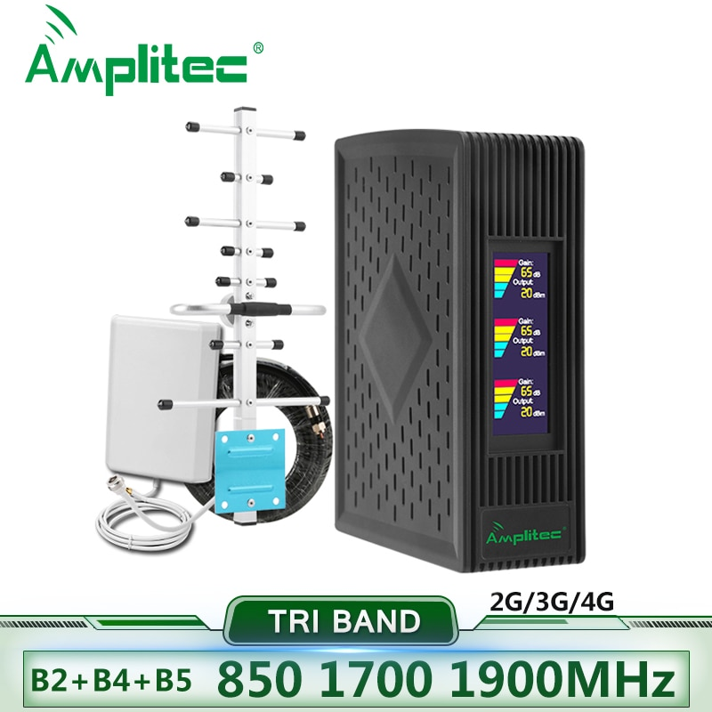 Amplitec Tri-Band Cellular Signal Amplifier 900 1800 2100MHz 4G Repeater Cellphone Amplifier 850/1700/1900 Mobile Signal Booster