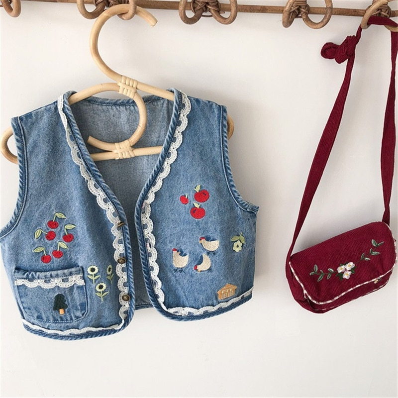 2-7T Denim Jacket Vest For Girls Toddler Kid Baby Girl Clothes Spring Autumn Print Floral Jeans Tank Top Cute Sweet Outwear