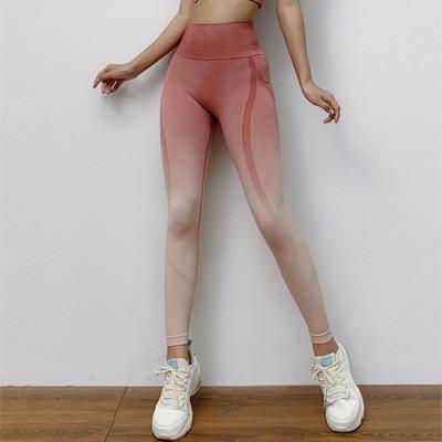 Women New Yoga Gradient Round Sports Pant Running Fitness Pant High Waist Hip Pants  Yoga Pant  leggings sport women fitness