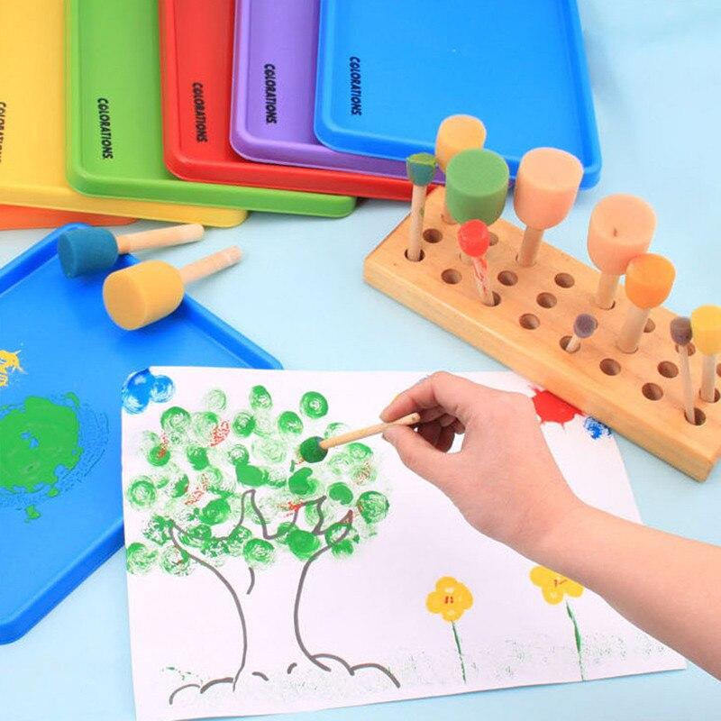 4 Uds pintura de esponja cepillo de madera juguete madera esponja de sellado cepillo de pintura para niños herramienta de aprendizaje Graffiti niños DIY dibujo Juguetes