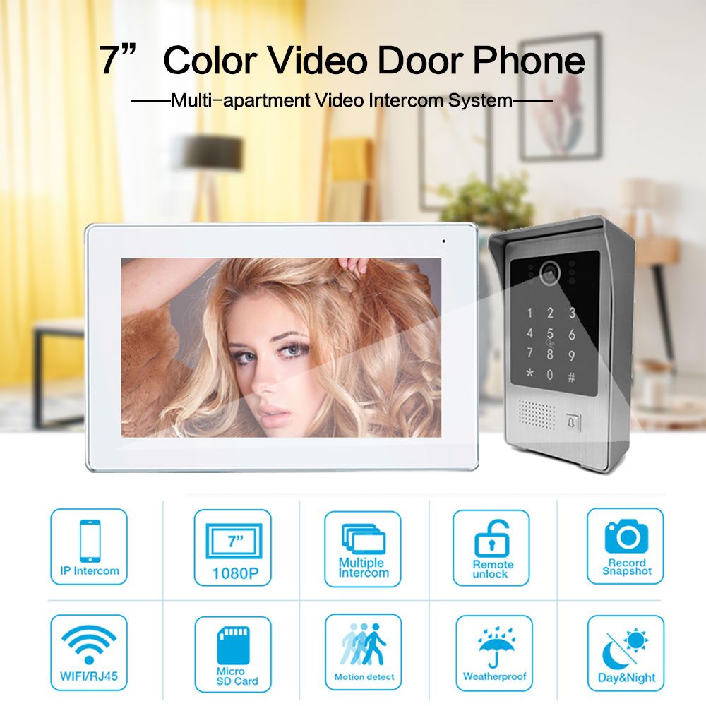 Wirless Wifi APP Smart 7 Inch Full Touch Screen Video Intercom System with HD Camera Support Record Password RFID Card enlarge