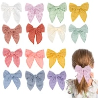 girls embroider lace hair bow hairpins large fabric hair bow nylon hair bands for girls toddler barrettes pinzas para el pelo