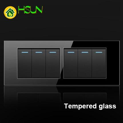 Enchufe de interruptor de vidrio templado negro 118 de EE. UU. 1/2/3/4/5/6/ 7/8 Gang interruptor de 2 vías Panel de vidrio Real LED caja de montaje de luz de guía
