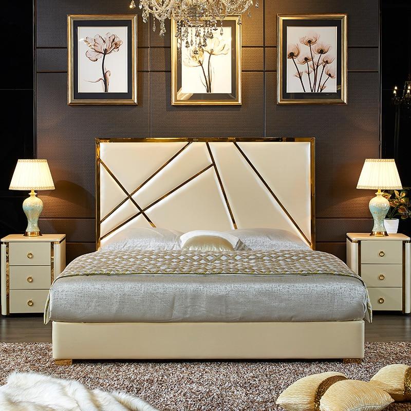 Mueble nórdico pequeño de cuero artificial para dormitorio, cama doble minimalista moderna...