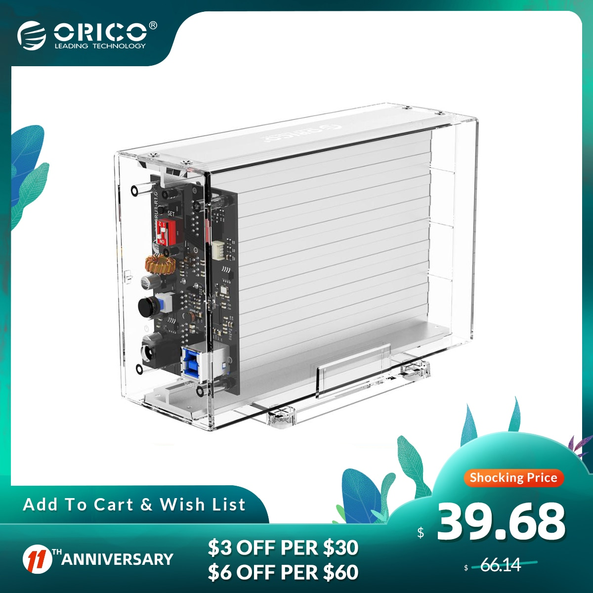 ORICO 2 Bay 3.5'' HDD Case With Raid Function SATA to USB 3.0 Transparent Hard Drive Box Support UASP With 12V3A Power 24TB Max