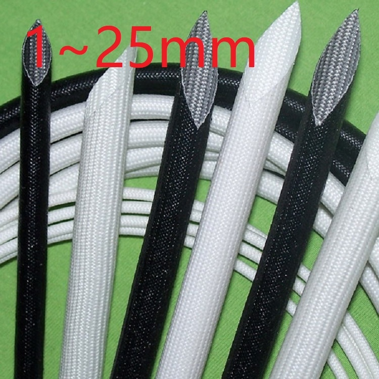 ID 1 ~ 25mm Fiberglass Tube Silicone Resin Braided Wire Sleeve Flame Resistant Fiber Glass Insulate Cable Protect Pipe 200 Deg.C