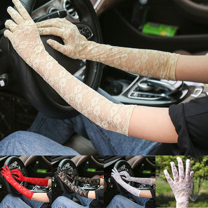 Летние тонкие сексуальные перчатки, длинные кружевные перчатки, черные варежки, перчатки до локтя, женские перчатки, дышащие солнцезащитны...