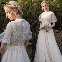 ChuYu Boho Summer Long Charming Tulle Bridal Wedding Dresses O Neck Princess Elegant  Appliqued  A-line Puffy Sleeves 2021