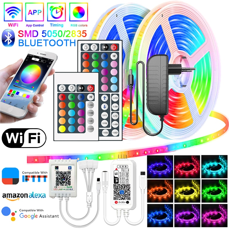 LED Strip Lights RGB Bluetooth WIFI 5-20M Waterproof SMD 2835/5050 DC 12V Flexible Ribbon Neno For R