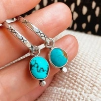 bohemian vintage 925 silver turquoises stone earrings jewelry antique silver color round drop earring