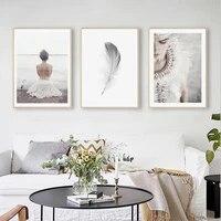 Toile dart mural pour fille  decoration nordique  mode  peinture  plume  affiches et imprimes  image murale pour salon  decoration de maison