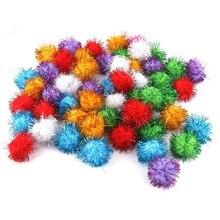 Big deal 70 pièce 3.5cm scintillant Tinsel ressorts Pompons boules chat jouet