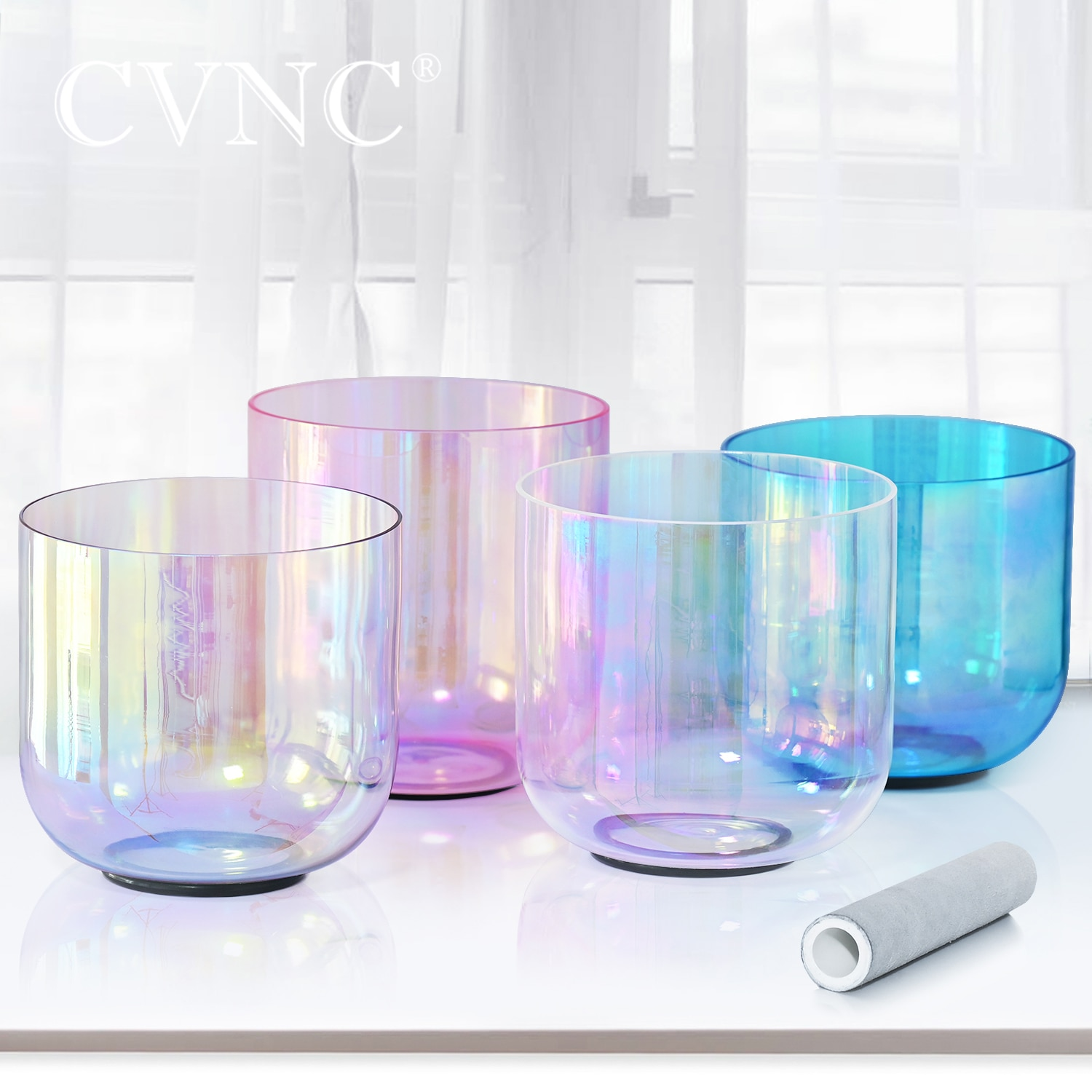 CVNC 6 Inch Clear Chakra Crystal Singing Bowl with Cosmic Light C Note Root Chakra Shining for Vibration Harmony Energy Balance enlarge