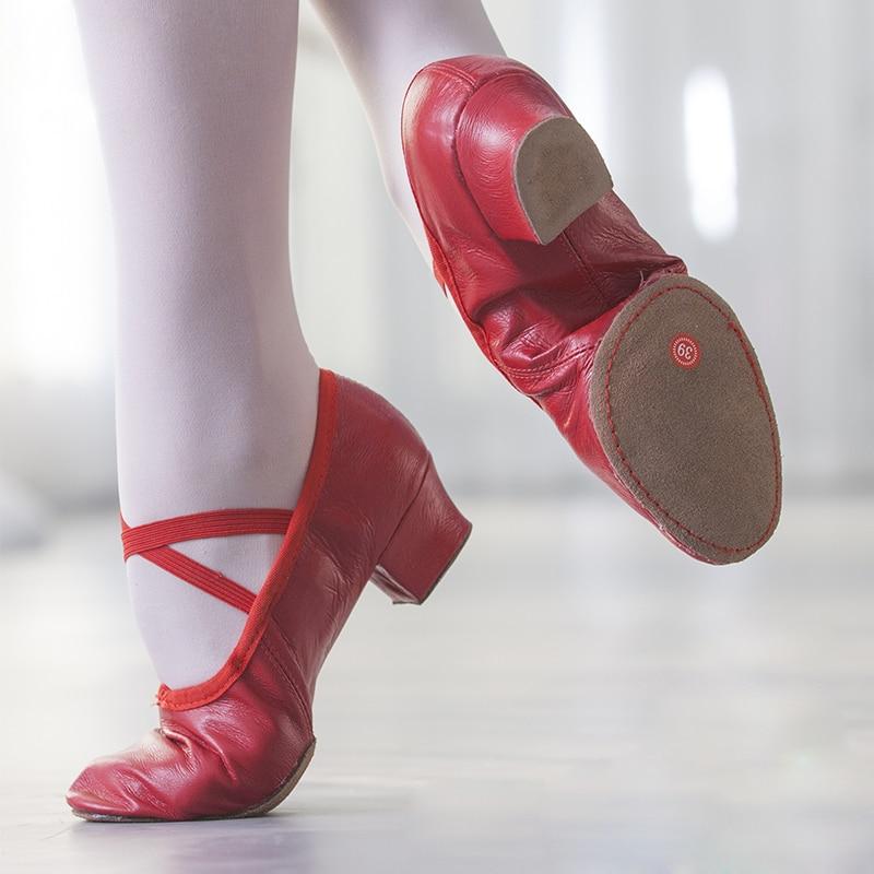 Sapatos de dança de balé de couro natural para as mulheres do salto médio macio estiramento jazz salsa sapatos de dança tênis para meninas sapatos de yoga