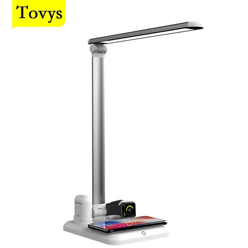 Tovys شواحن لاسلكية آيفون ساعة Airpods iWatch شحن حوض محطة LED مكتب مصباح العين حماية القراءة ضوء الجدول