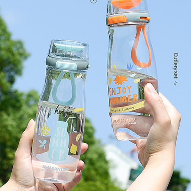 Plastic Cup Outdoor Sports Portable Student Adult Water Cup Cute Cup Drinking Cartoon Water Bottles