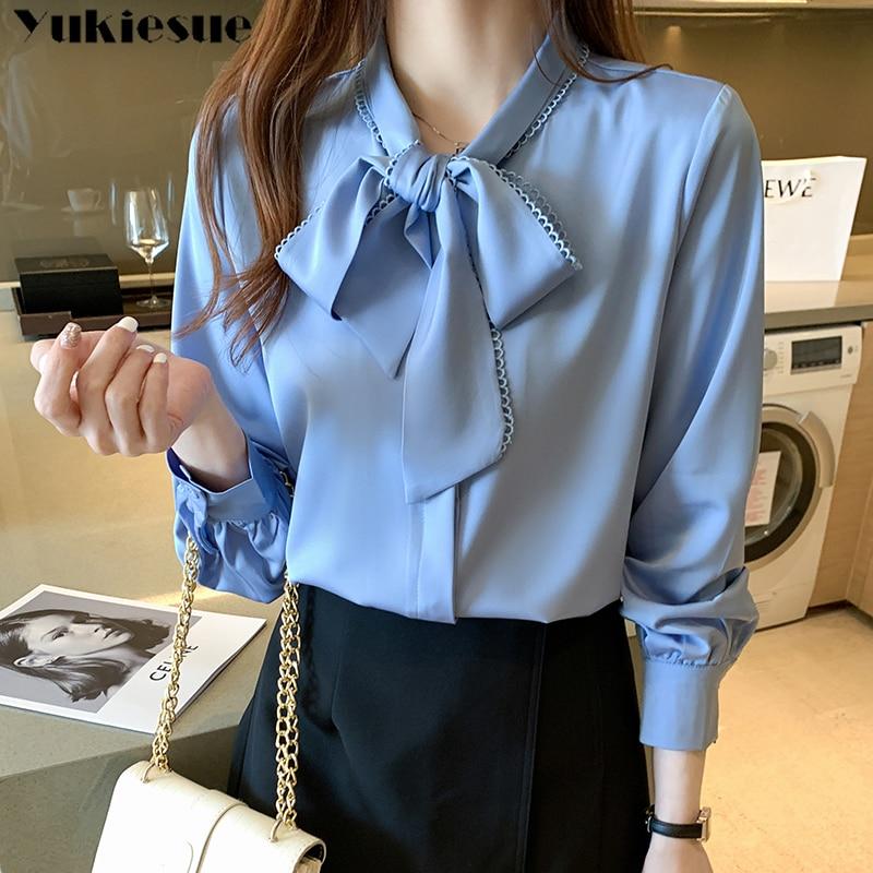 2021 New Spring Autumn New Elegant Lace Up Bow Blouse Women Lantern Long Sleeve Solid Chiffon Shirt Slim Fit Blusas plus size