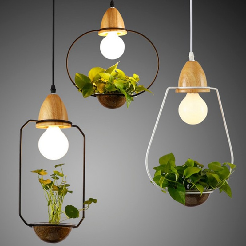 lukloy planta pote luz pingente pendurado luminarias de suspensao led herb plantio