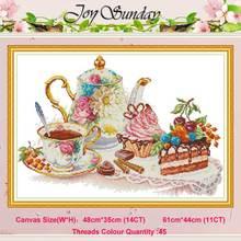 Ensemble thé dessert café après-midi   Motifs comptés 11CT 14CT, ensembles point de croix, kit bricolage point de croix, broderie, décor de maison