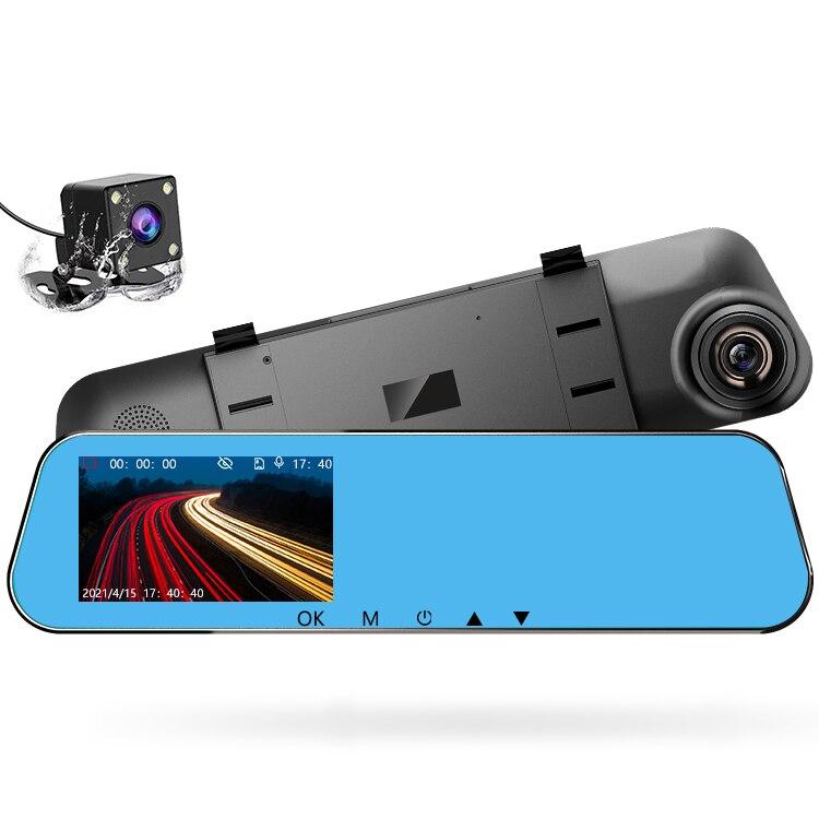 24-часовой Автомобильный видеорегистратор, видеорегистратор с двойным объективом заднего вида 1080P 4,3 дюйма Full HD, циклическая запись, видеоре...