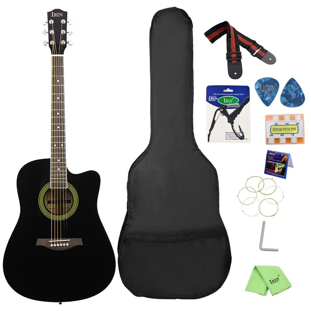Guitarra acústica IRIN de 41 pulgadas, diseño recortado, Guitarra Basswood con funda de Guitarra, correa, púa, seis agujeros, flauta de afinación, llave de Capo