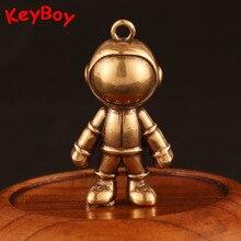 3D astronaute espace Robot en laiton porte-clés pendentif hommes voiture taille boucle suspendus cuivre porte-clés anneau breloques ami cadeau