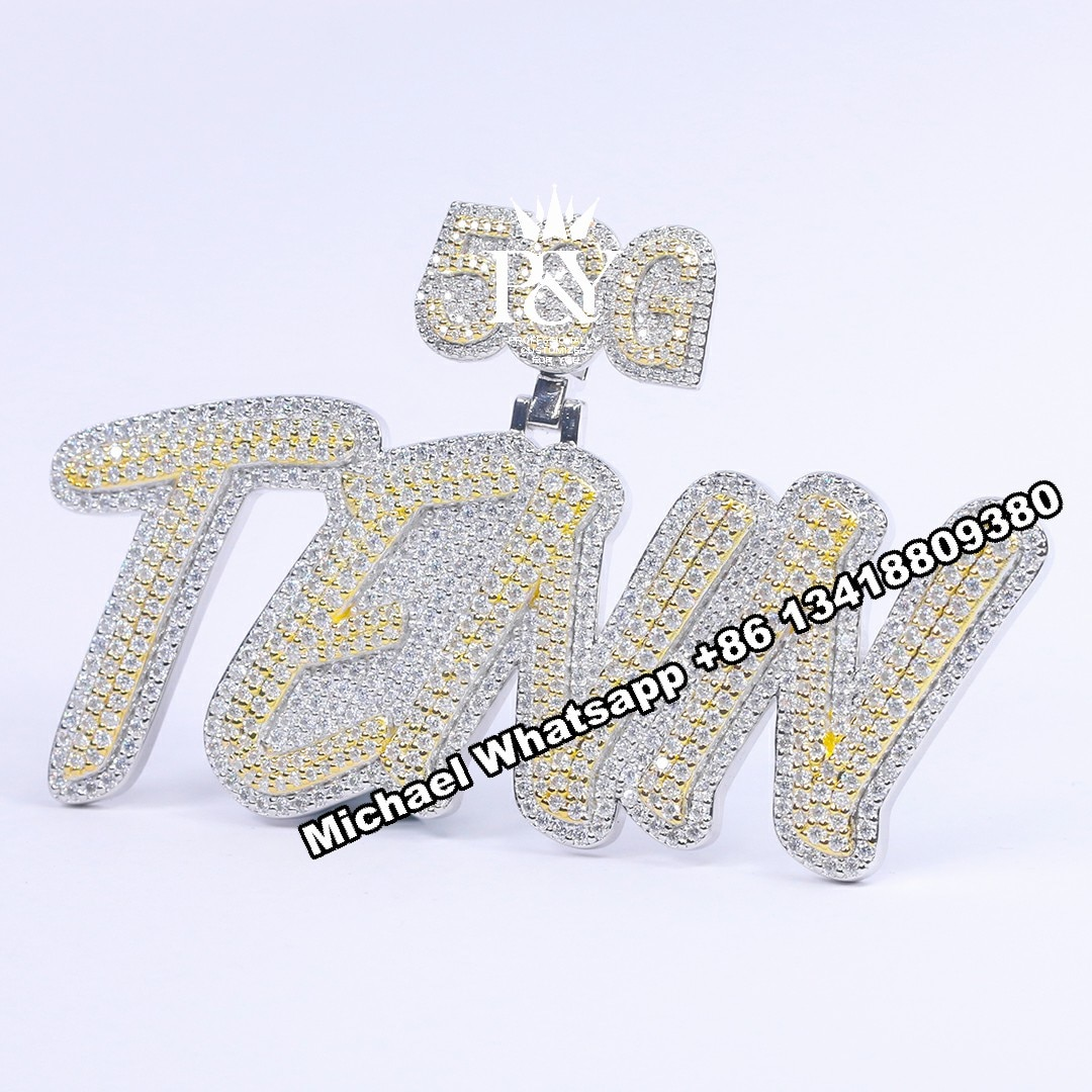 P&Y Customized HipHop Iced Out Letter Jewelry Pass Diamond Tester Full With VVS Moissanite Diamond Two-tone Name Pendant