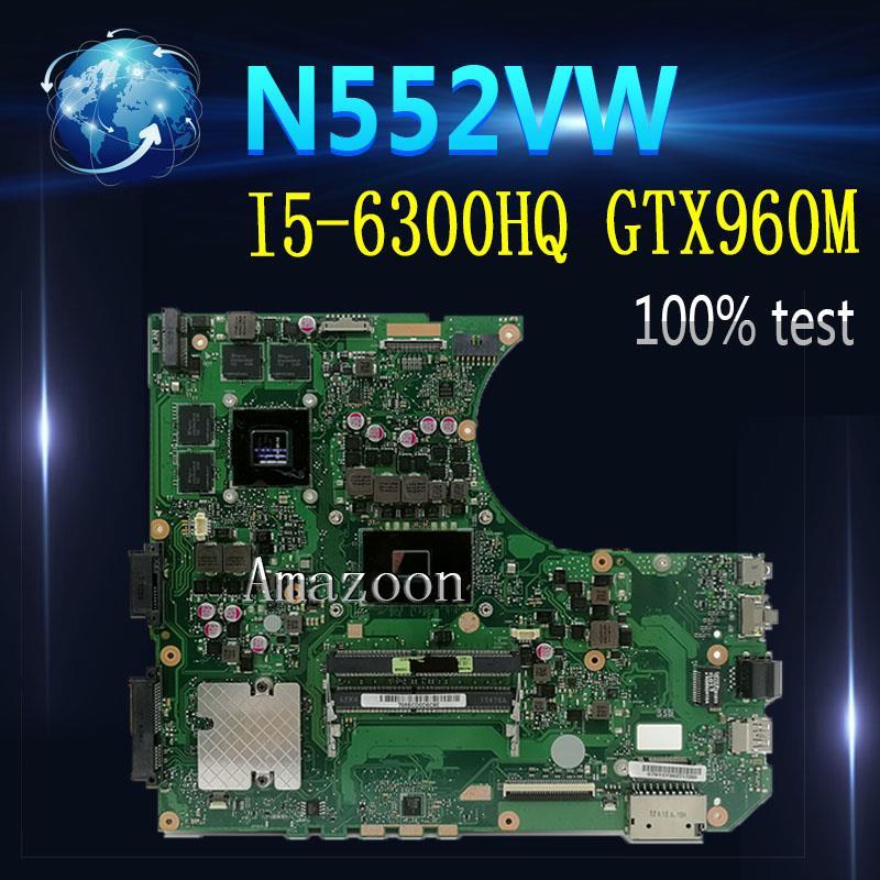 Amazoon N552VW محمول اللوحة الأم ل For Asus N552VW N552V N552 اختبار اللوحة الأصلية I5-6300HQ GTX960M-2G