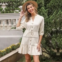 women solid v neck button mini dress single breasted half sleeve lace up ruffles dresses ladies casual fashion elegant