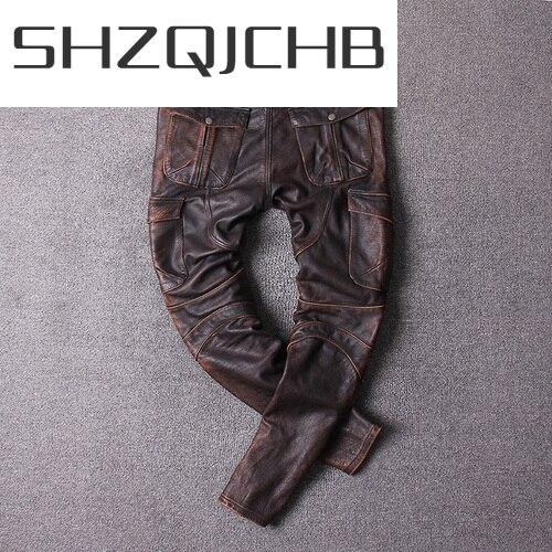 SHZQ دراجة نارية بنطال جلدي حقيقي الرجال 100% حقيقي جلد البقر الرجال السراويل خمر بنطلون الخريف موضة 2021 بنطلونات Cuir 2627