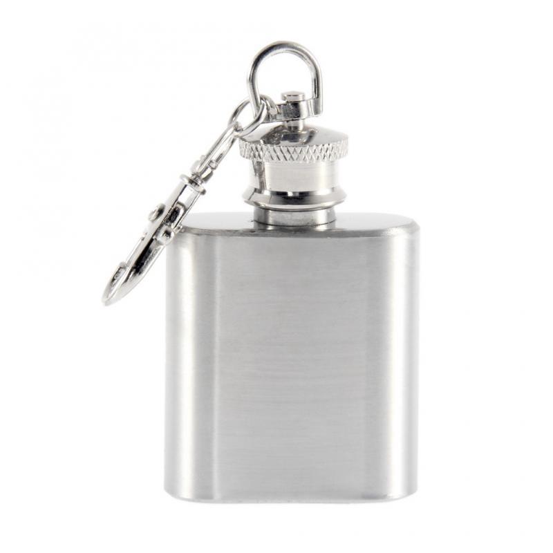 Petaca de bolsillo Mini 1oz portátil de acero inoxidable con llavero Alcohol whisky licor vino Drinkware tiesto de jarra