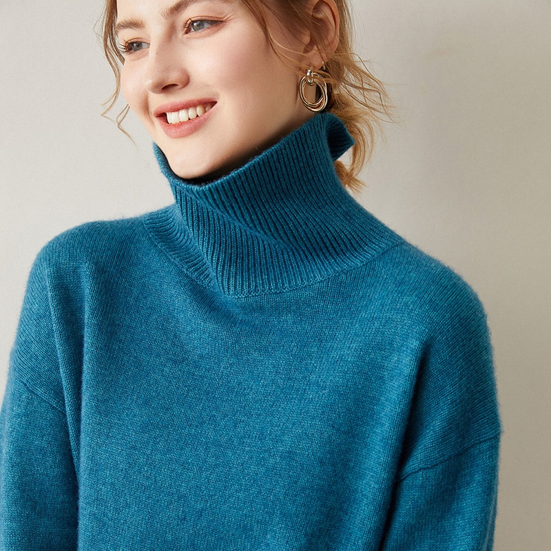 Hot Sale Loose Sweaters Women 100% Pure Goat Cashmere Knitted Pullovers Ladies Turtleneck Long Sleeve Jumpers enlarge