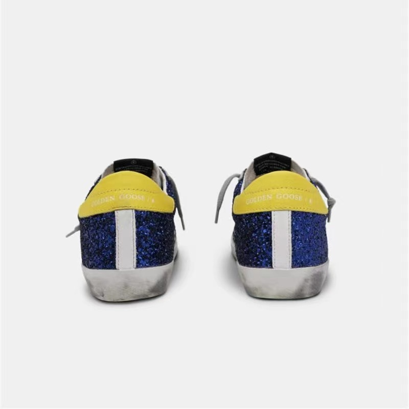 Spring /Summer New Sequins Retro Distressed Small Dirty Shoes Children's Leisure Lemon Yellow Back Tail Parent-child Shoes QZ19 enlarge