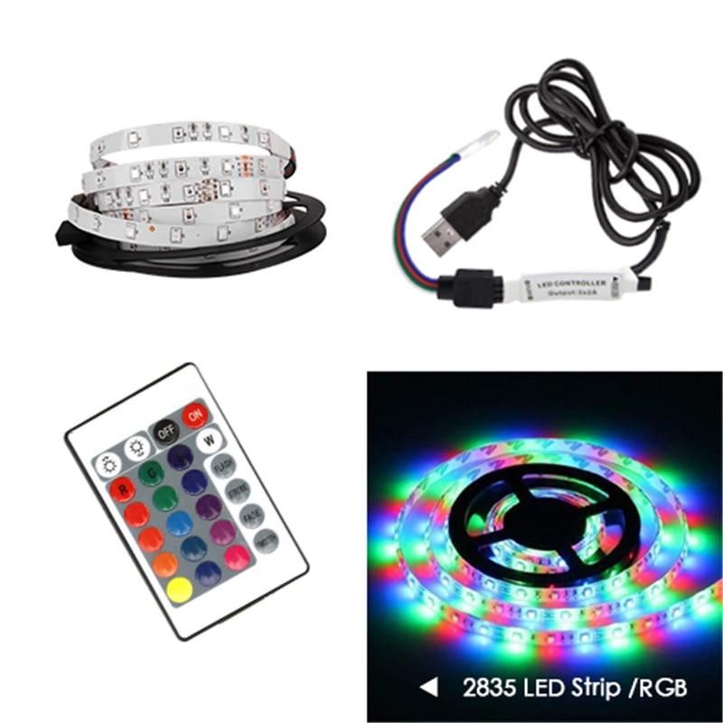 USB LED Strip lamp 2835SMD DC5V Flexible LED light Tape Ribbon 0.5M1M 2M 3M 4M 5M HDTV TV Desktop Screen Backlight Bias lighting