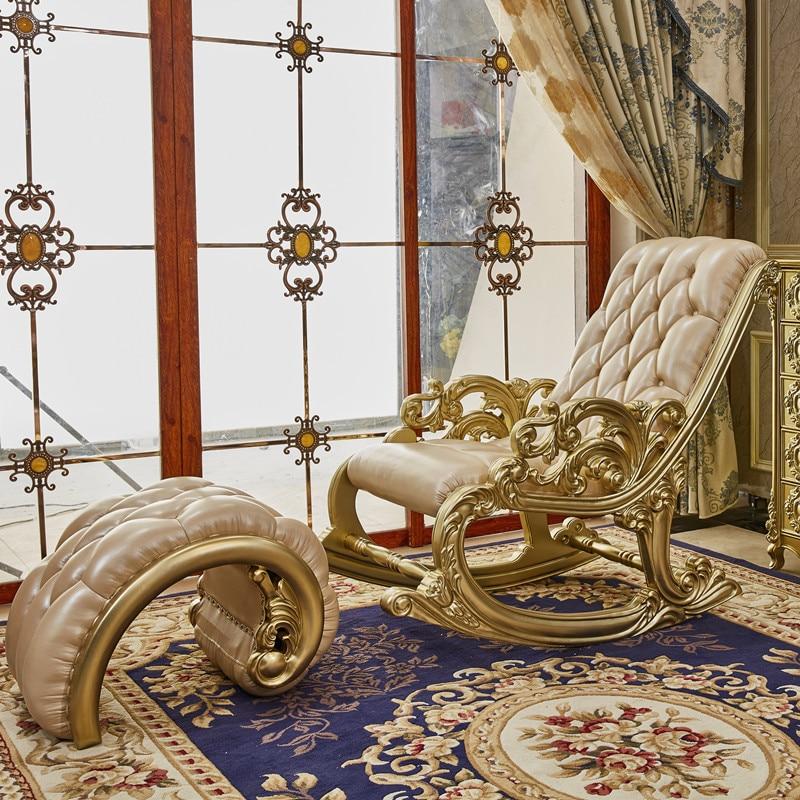 جلد على الطراز الأوروبي جميع خشب متين كرسي متأرجح كرسي بظهر للاستلقاء شرفة غرفة نوم الكبار كرسي مريح أريكة الترفيه المنزل