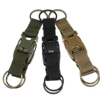 tactical molle key chain ring clip nylon webbing strap belt backpack o ring carabiner with double 2 quick released buckle hook