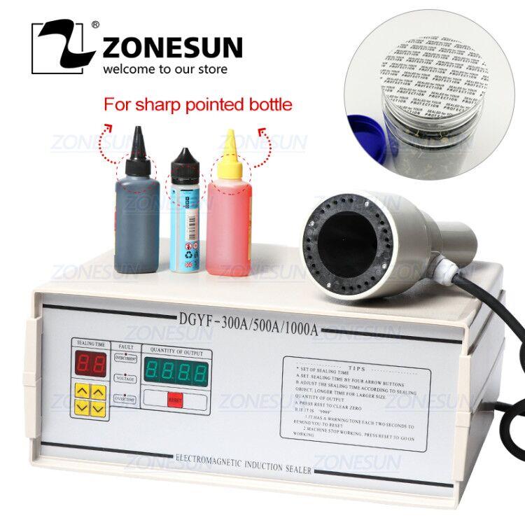 ZONESUN FK-300 Small Diameter Aluminium Foil Film Sealing Machine For Medicine Sharp Pointed Bottle Plastic Dropper Bottle