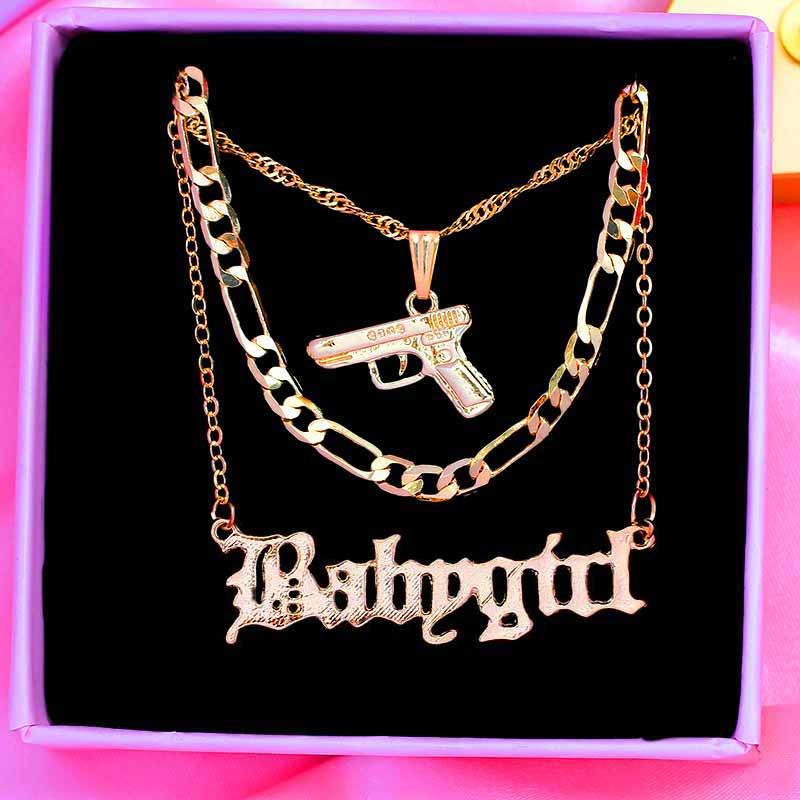 aliexpress - Flatfoosie Punk Hip Hop Pistol Submachine Pendant Necklace for Women Men Gold Color Metal Long Chain Necklace Fashion Jewelry