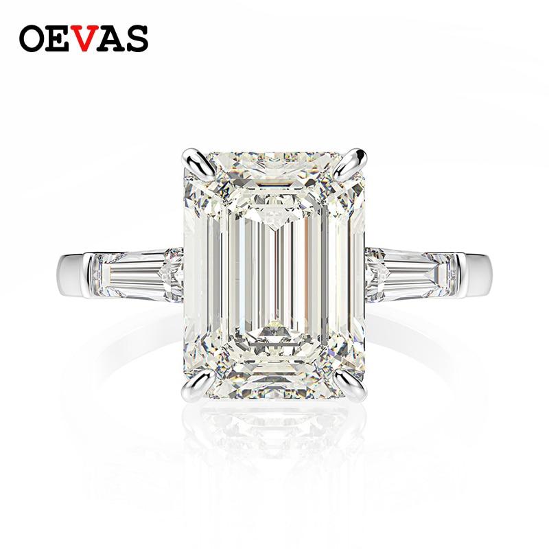 OEVAS 925 فضة الزمرد قص مكون مويسانيتي الأحجار الكريمة الزفاف المشاركة الماس خاتم غرامة مجوهرات هدية بالجملة